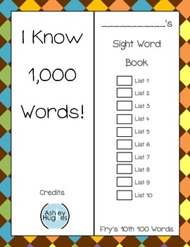 Sight Word Book- Fry's Tenth 100 Words