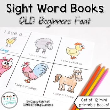 Mini Pre-Reader Sight Word Book Printables - QLD FONT