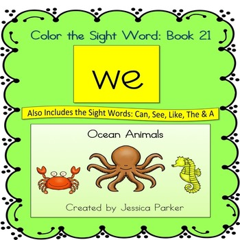 """Sight Word Book and Practice for """"We""""  Color the Sight Wor"""