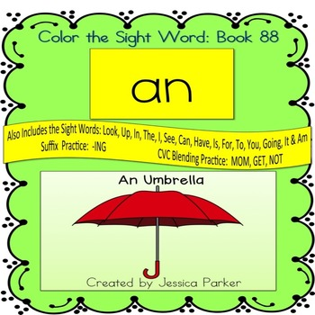 """Sight Word Book for """"An"""" Color the Sight Word Book 88"""