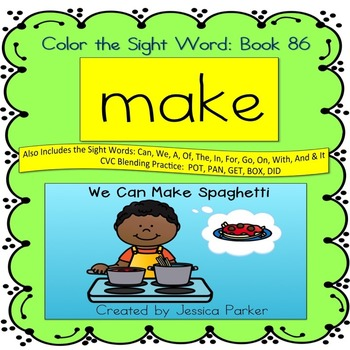 """Sight Word Book for """"Make"""" Color the Sight Word Book 86"""