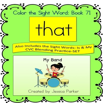 "Sight Word Book for ""That"" Color the Sight Word Book 71"