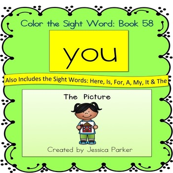 """Sight Word Book for """"You"""" Color the Sight Word Book 58"""