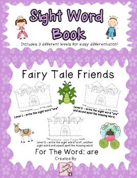 Sight Word Book for word are - Fairy Tale Friends