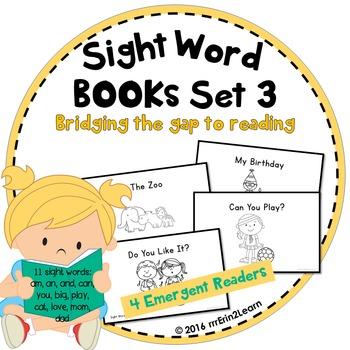 Emergent Readers Sight Word Books Set 3