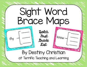 Sight Word Brace Maps {Dolch First Grade List}