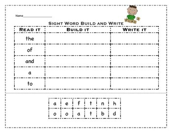 Sight Word Build and Write Bundle