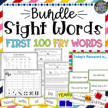Sight Word Bundle: 1st 100 Fry Words: Worksheets, games, w