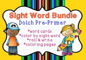 Sight Word Bundle Pack   Dolch Pre-Primer   Coloring, prac