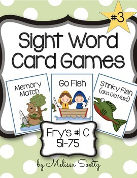 Sight Word Card Games - Fry's  #1C 51-75