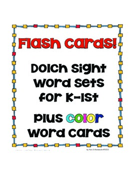 Sight Word Cards Set Plus Color Words - Great for Home to