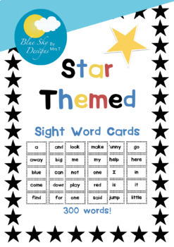 Sight Word Cards Pack - 290 Words - Star Themed