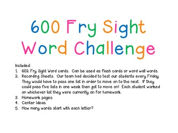 Sight Word Cards and Activities