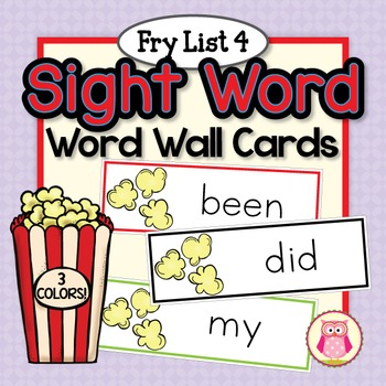 Sight Word Cards for Word Wall: Fry List 4 Popcorn Word Ca