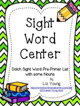 Dolch Sight Word Center - PrePrimer Word List