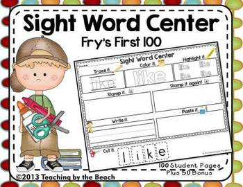 Sight Word Center-Fry's First 100 Student Pages Plus Bonus