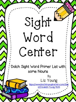 Dolch Sight Word Center - Primer Word List