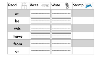 Sight Word Center (Writing and Stamping) words 21-60