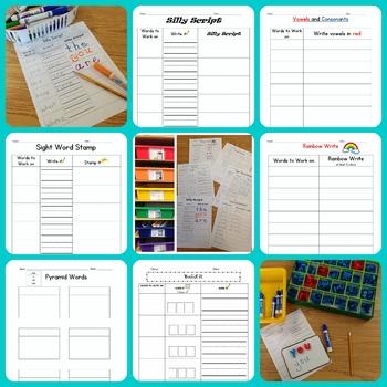 Sight Word Choice Menu and Recording Sheets