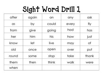 Sight Word Drill