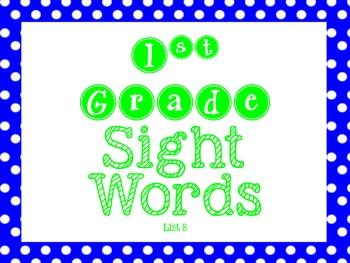 Sight Word Exercises List B