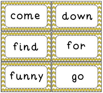 Sight Word Flash Cards Dolch Pre-Primer Set