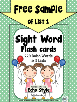 Sight Word Flash Cards: FREE SAMPLE