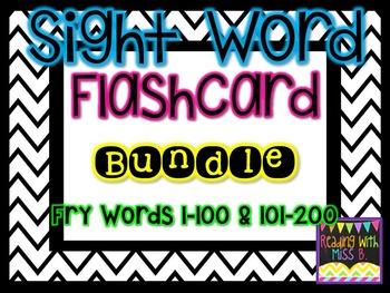 Sight Word Flashcard Bundle - Fry List Words 1-200
