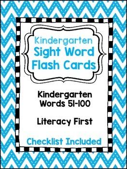 Sight Word Flashcards, Kindergarten Words 51-100, Literacy First