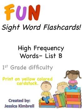 Sight Word Flashcards (List B)