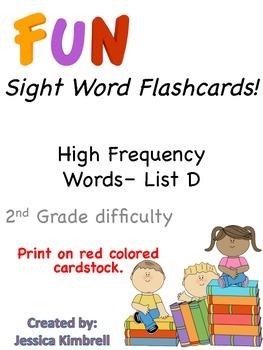 Sight Word Flashcards (List D)
