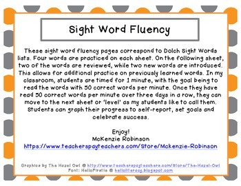 Sight Word Fluency: Dolch Primer