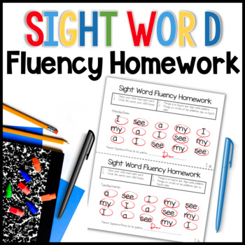 This pack is designed to help students practice sight word fluency at home each night. Parents are to circle the words their child reads correctly, then sign the bottom. There are 36 weeks of sight word homework. The words are rotated through a five week cycle. Directions are in English and Spanish.