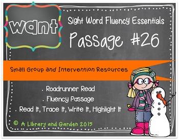 Sight Word Fluency Passage #26: WANT