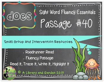 Sight Word Fluency Passage #40: DOES