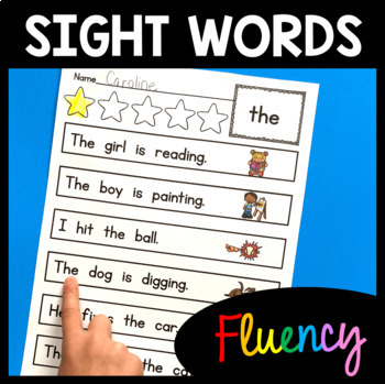 Sight Word Fluency Practice - 72 Words - Color & BW - Sent