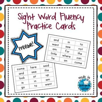 Sight Word Fluency Practice Cards Freebie