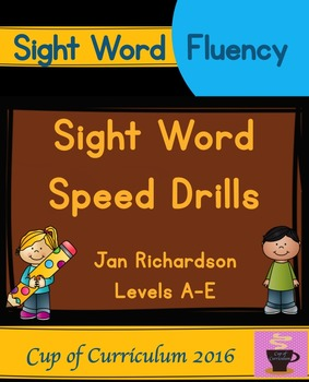 Sight Word Speed Drills {Jan Richardson Levels A-E}
