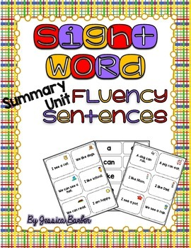 Sight Word Fluency Sentence Cards- Pre-primer Unit Summary