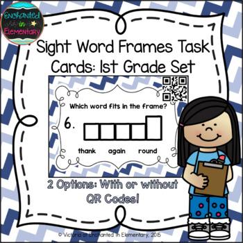 Sight Word Frames Task Cards: First Grade Set
