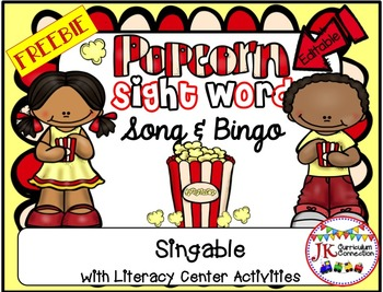 Sight Word Freebie! Popcorn Sight Word SONG & Bingo Game!