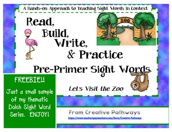 Zoo Theme Pre-Primer Dolch Sight Word Freebie:  Build a Sentence