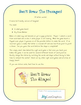 Sight Word Game: Don't Draw the Hexagon (Independant work/