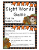 Sights Words Game (Fall Themed) - 30 Sight Word Cards: Fin