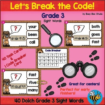 ESL Sight Word Game: Let's Break the Code (Dolch Grade 3)