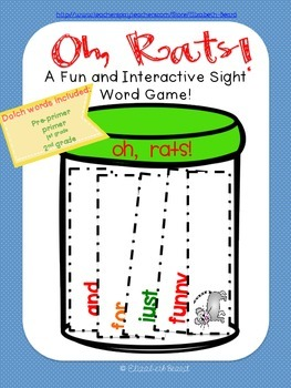 Sight Word Game: Oh, Rats! 179 Pre-Primer to 2nd grade Dol