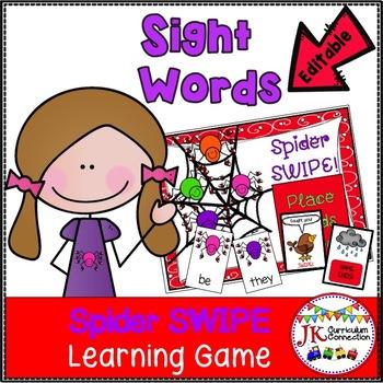 Sight Word Game - SPIDER SWIPE Game