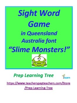 """Sight Word Game in Queensland  Australia font """"Slime Monsters!"""""""
