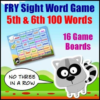 Sight Word Games - Fry List 5th & 6th Hundred Words
