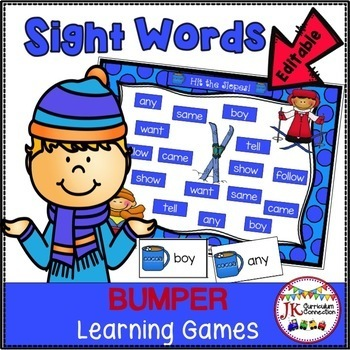 Sight Word Games: Winter Theme Bumper {EDITABLE}
